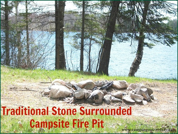 raditional stone surrounded campsite fire pit